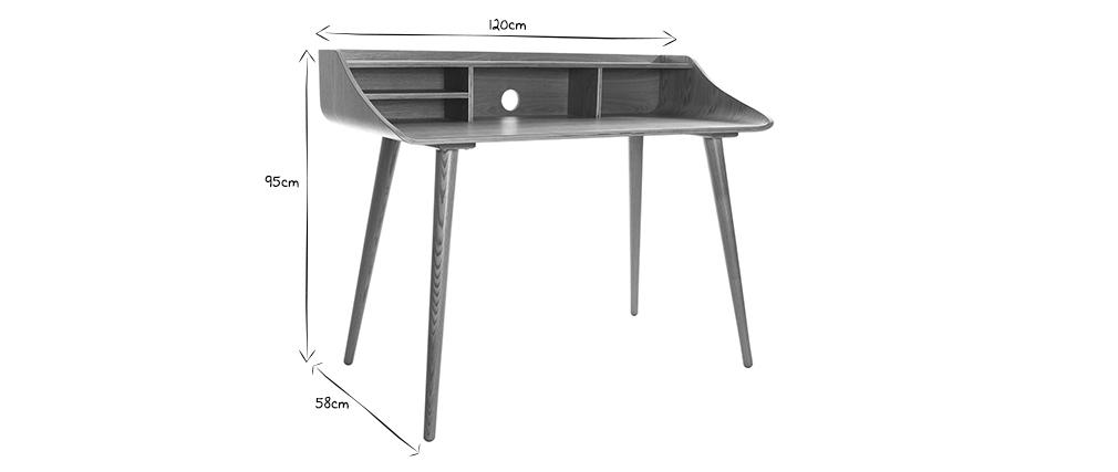 Bureau scandinave finition bois teinté blanc NORDECO