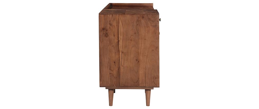 Bureau vintage avec rangement acacia massif L130 cm ROBY