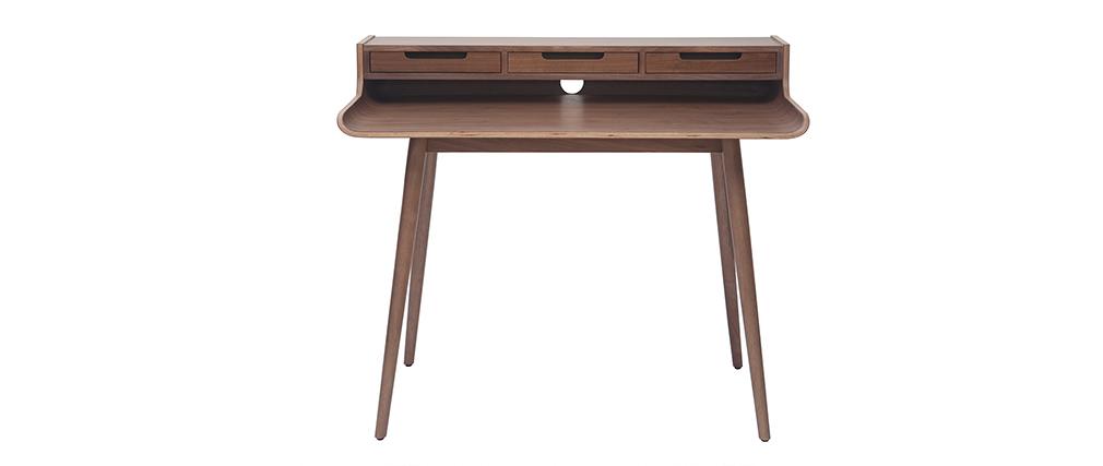 Bureau vintage noyer 3 tiroirs L110 cm OPUS