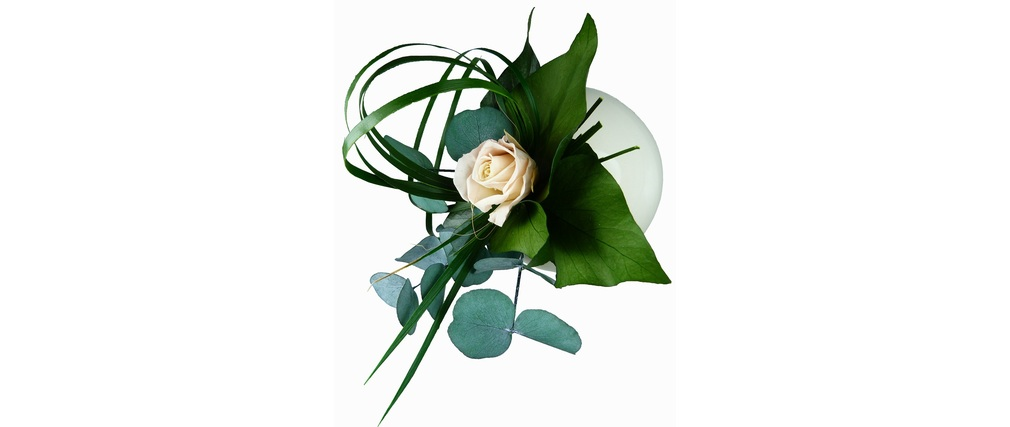Cadre végétal rond en céramique blanche TAIGA
