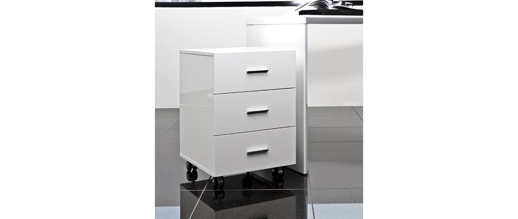caisson bureau blanc. Black Bedroom Furniture Sets. Home Design Ideas