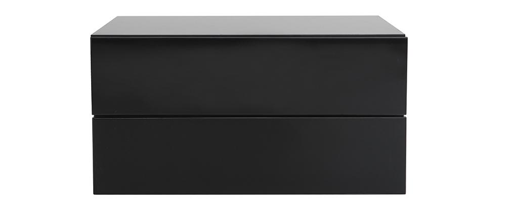 Caisson de rangement 2 tiroirs noir laqué MAX
