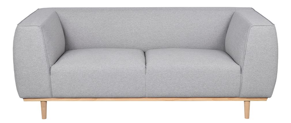 Canapé 2-3 places scandinave en tissu gris chiné et bois MORRIS