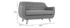 Canapé 2 places design déhoussable en tissu gris et pieds bois YNOK