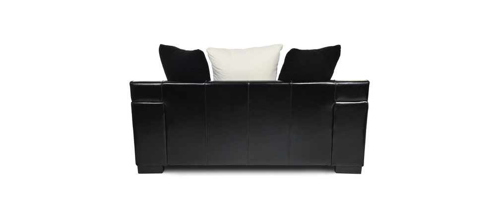 canap 2 places en tissu et croute de cuir lucas miliboo. Black Bedroom Furniture Sets. Home Design Ideas