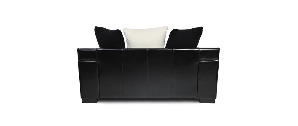 canap 2 places en tissu et croute de cuir lucas miliboo. Black Bedroom Furniture Sets. Home Design Ideas
