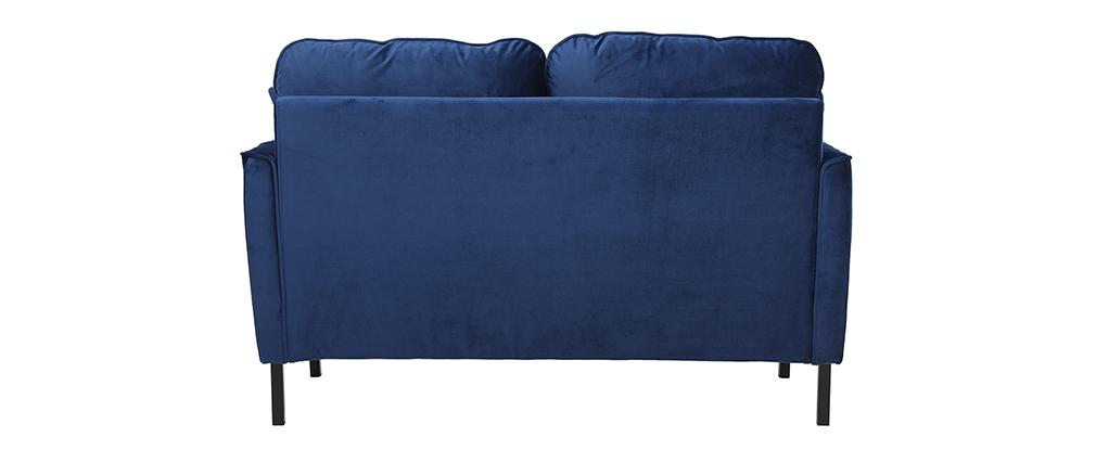Canapé 2 places en velours bleu BEKA