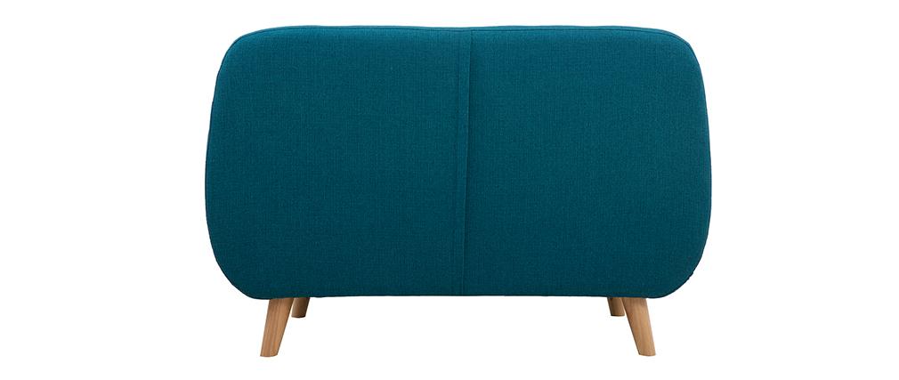 Canapé 2 places scandinave déhoussable bleu canard et bois YNOK