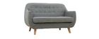 Canapé 2 places scandinave déhoussable gris clair et bois YNOK
