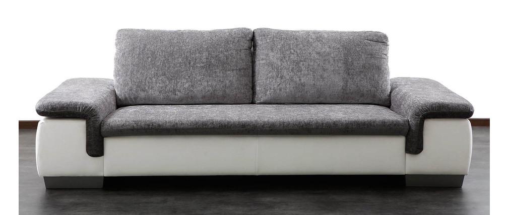 Canap 3 4 places gris et blanc scala miliboo - Canape gris et blanc ...