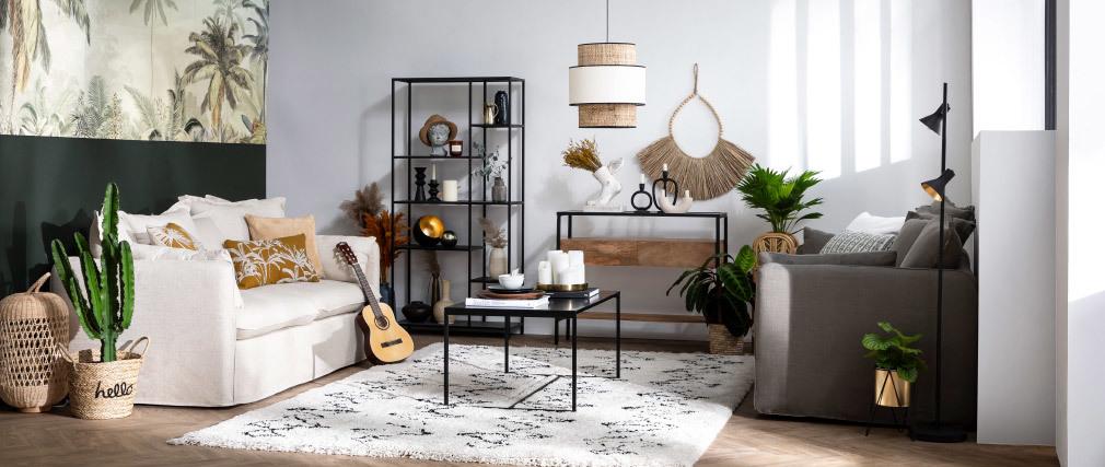 Canapé 3 places déhoussable en lin coloris naturel MERLIN