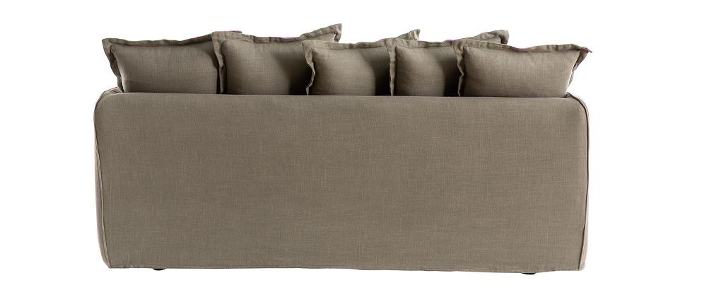 Canapé 3 places déhoussable en lin vert de gris MERLIN