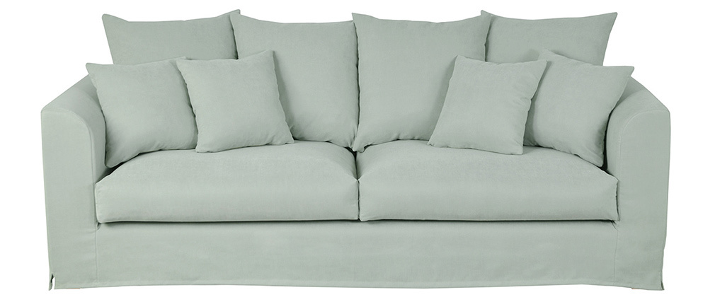 Canapé 3 places déhoussable en tissu vert amande FEVER
