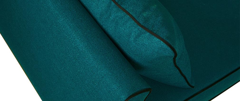 Canapé 3 places design bleu paon et velours noir HARRISON - Miliboo & Stéphane Plaza