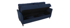 Canapé 3 places design en tissu bleu foncé avec rangement MEDLEY
