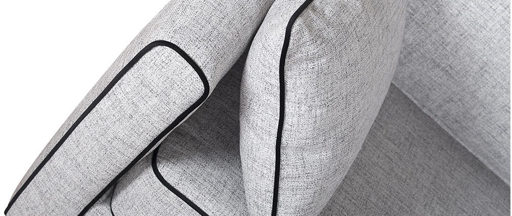 Canapé 3 places design gris chiné et velours noir HARRISON - Miliboo & Stéphane Plaza
