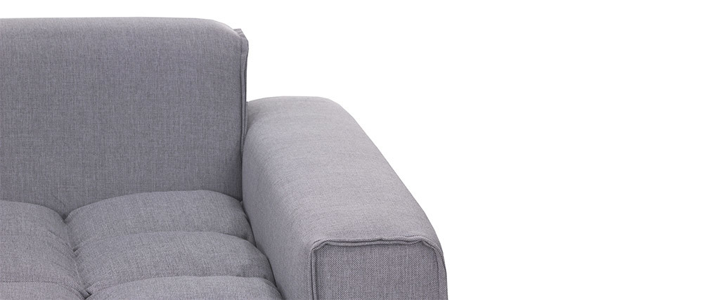 Canapé 3 places design tissu gris clair MELLOW