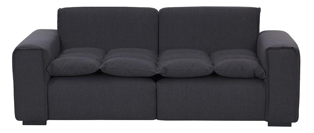 Canapé 3 places design tissu gris foncé MELLOW