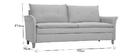 Canapé 3 places en tissu gris clair CLIFF