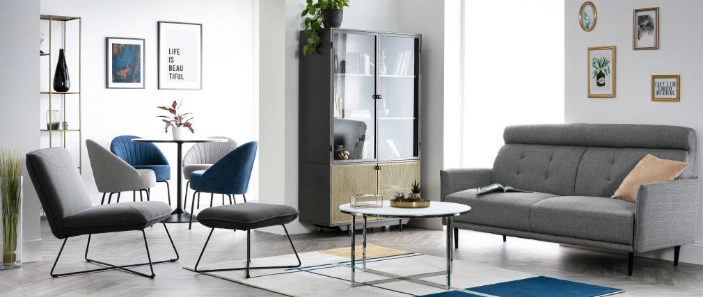 Canapé 3 places en tissu gris clair HIBA