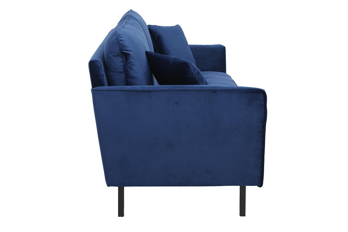 Canapé 3 places en velours bleu BEKA Miliboo