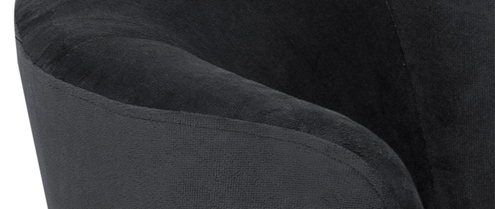 Canapé 3 places en velours gris et métal noir WARM