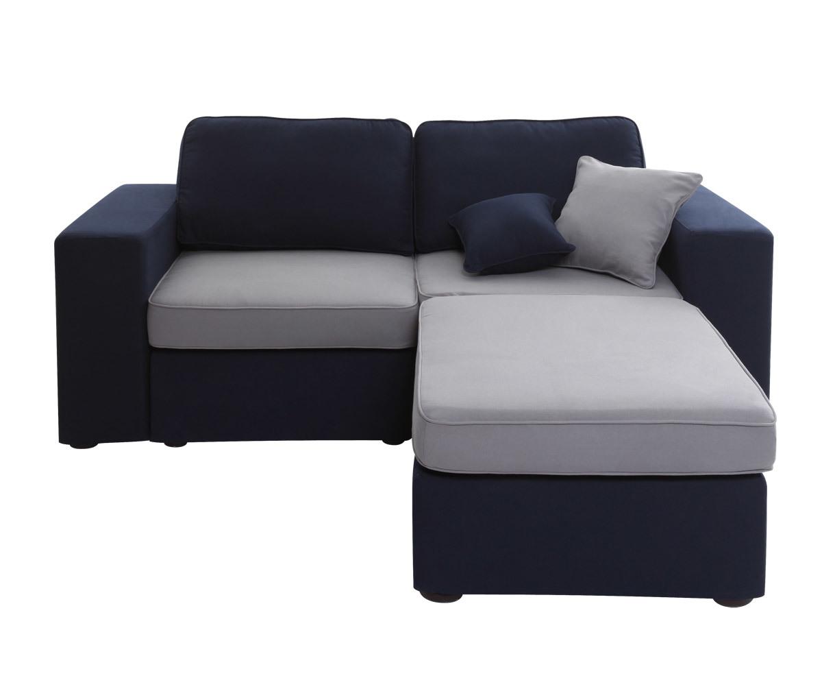 Canap 3 places m ridienne modulable bleu marine et gris for Canape 1 place avec meridienne