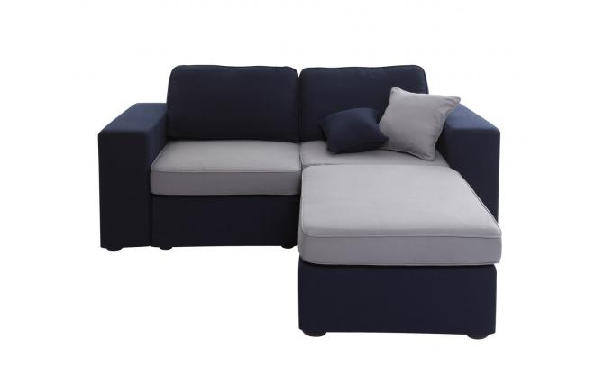 Canap 3 places m ridienne modulable bleu marine et gris for Canape deux places meridienne