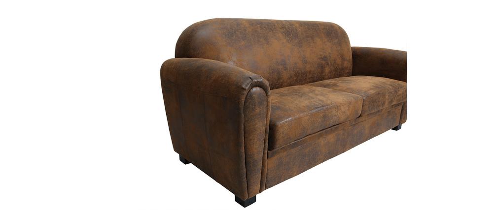 canap 3 places microfibre marron effet vieilli club miliboo. Black Bedroom Furniture Sets. Home Design Ideas