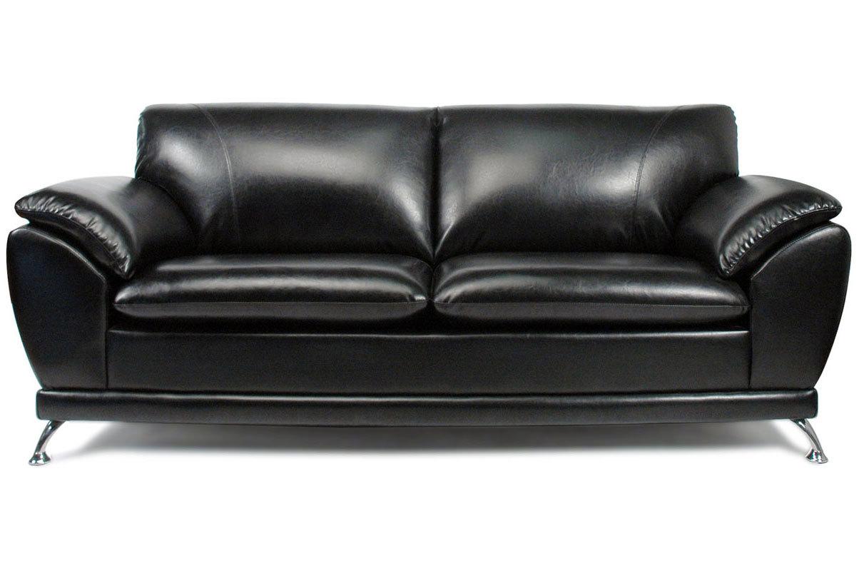 Canap 3 places noir cuir de buffle new york miliboo - Canape cuir de buffle 3 places ...