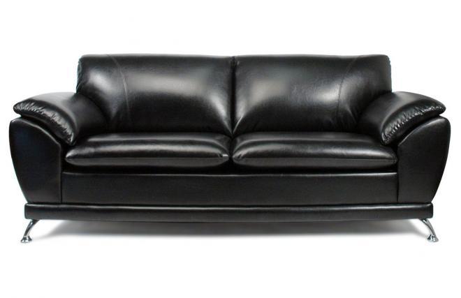 Canapé 3 places noir cuir de buffle NEW YORK Miliboo