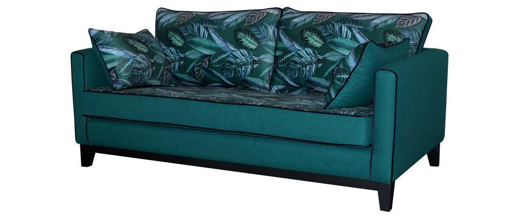 Canapé 3 places réversible tissu imprimé végétal bleu paon HARRISON - Miliboo & Stéphane Plaza