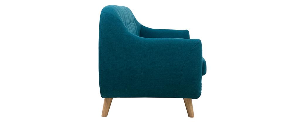Canapé 3 places scandinave déhoussable bleu canard et bois YNOK