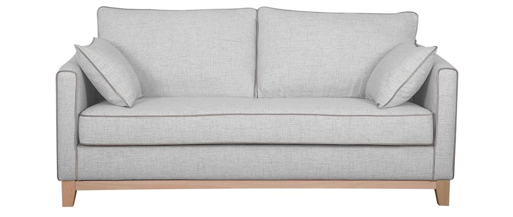 Canapé 3 places tissu gris chiné et bois clair HARRISON