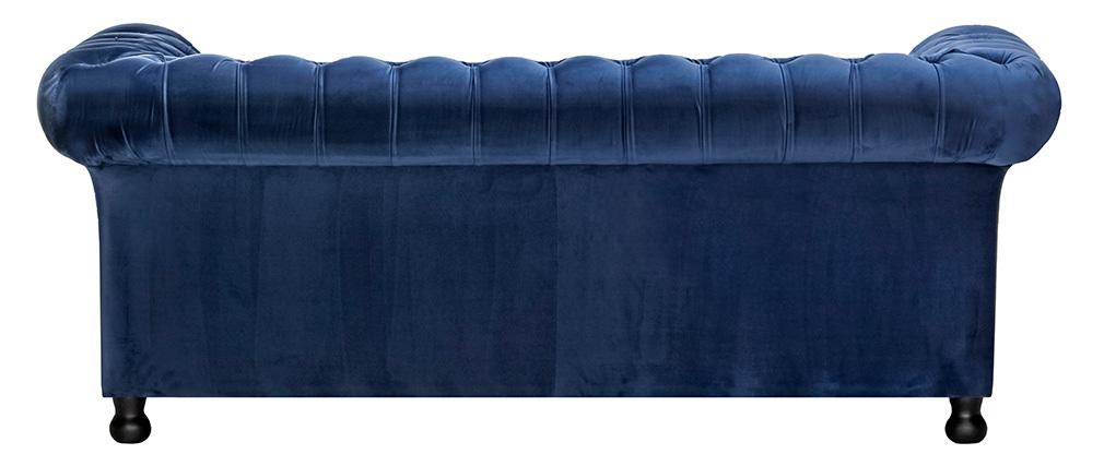 Canapé 3 places velours bleu foncé CHESTERFIELD