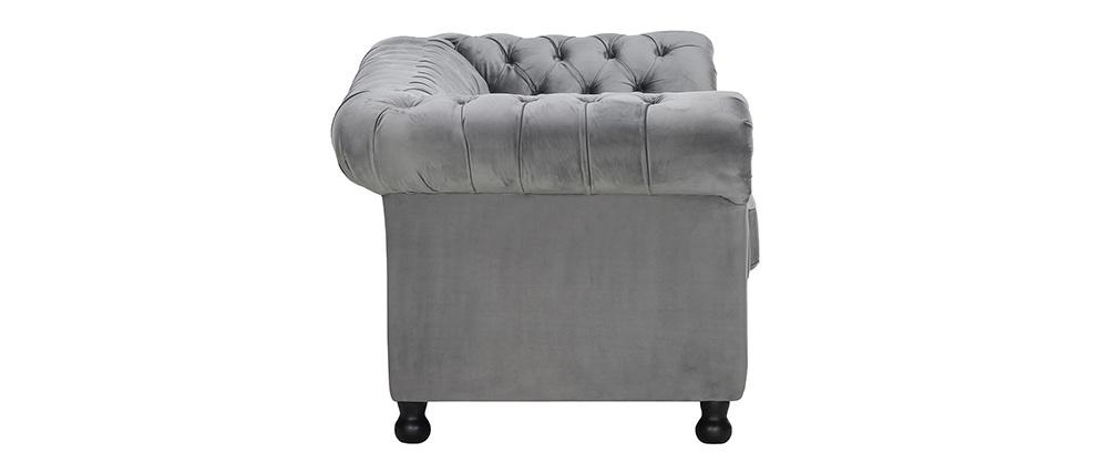 Canapé 3 places velours gris foncé CHESTERFIELD