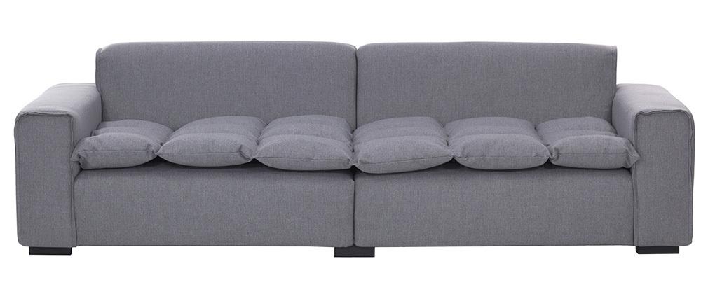 Canapé 4 places design tissu gris clair MELLOW