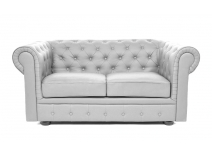 Canapé Chesterfield argent 2 places design