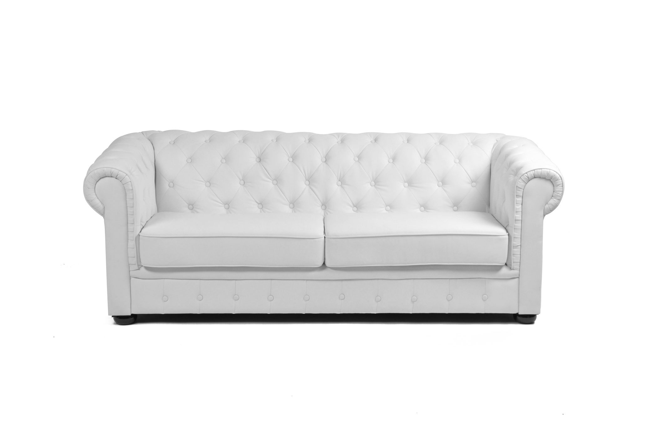 Canap chesterfield blanc 3 places design miliboo - Canape chesterfield blanc ...