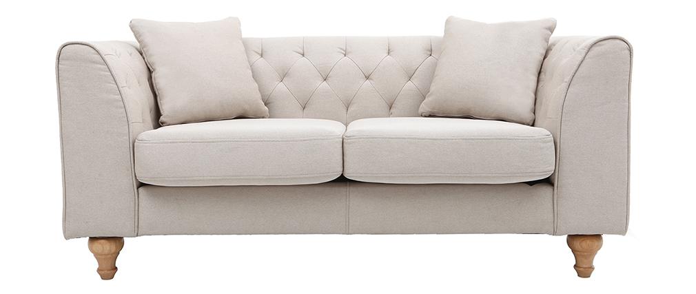 Canapé classique tissu coloris naturel 2 places MONTAIGNE