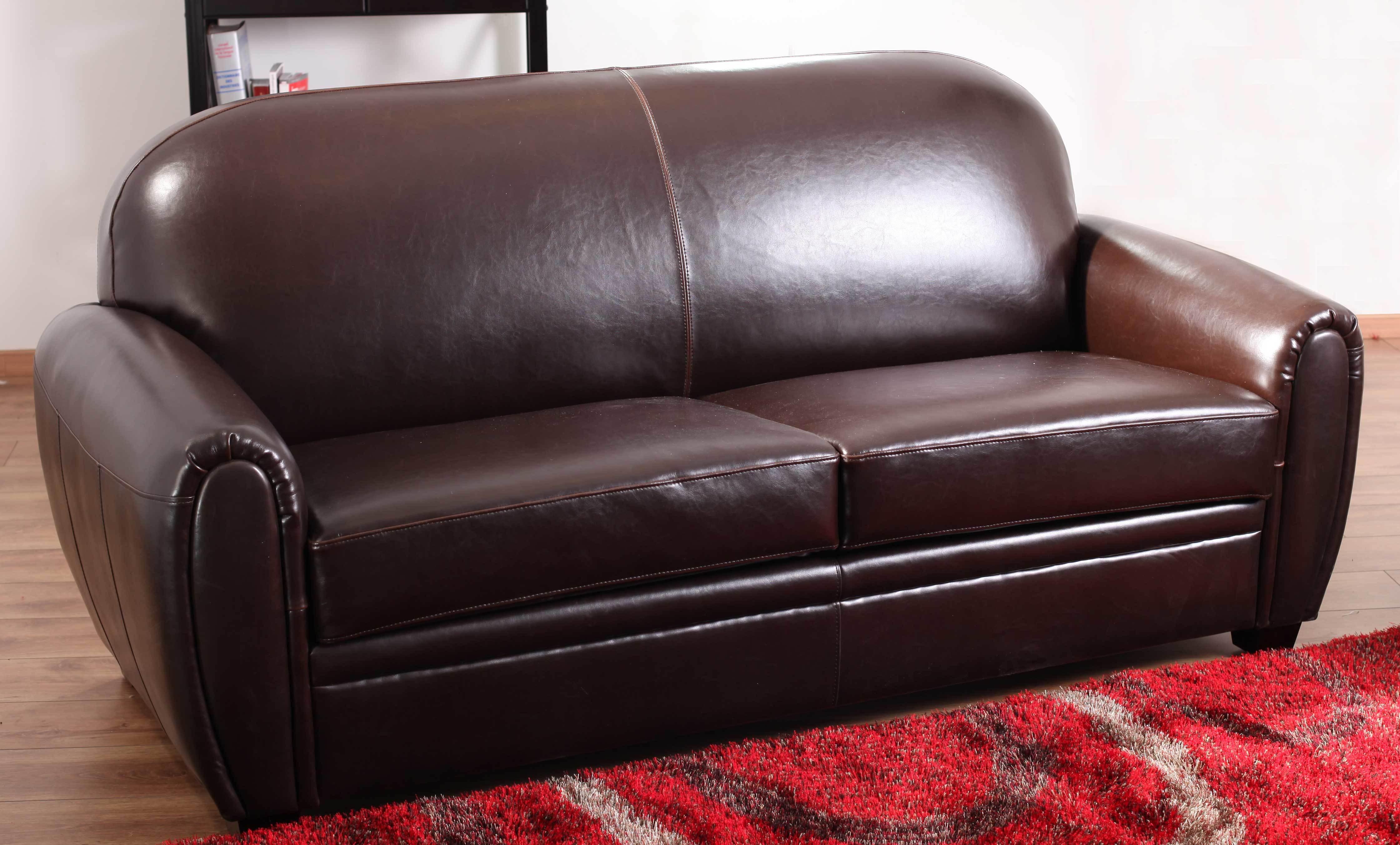 Canap club 3 places roy en cuir de buffle marron miliboo for Canape club cuir marron