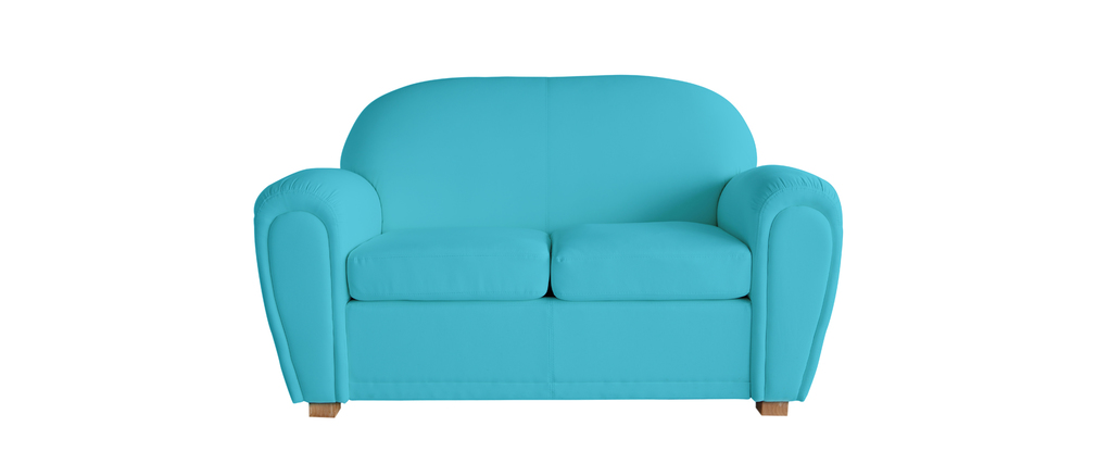 canap club bleu turquoise 2 places miliboo. Black Bedroom Furniture Sets. Home Design Ideas