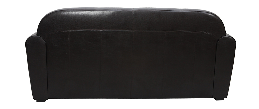 Canap club convertible cuir marron fonc 3 places cuir de vachette miliboo - Canape cuir club 3 places ...