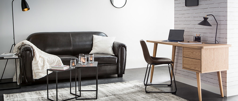 Canapé Club convertible cuir marron clair 3 places - cuir de vachette