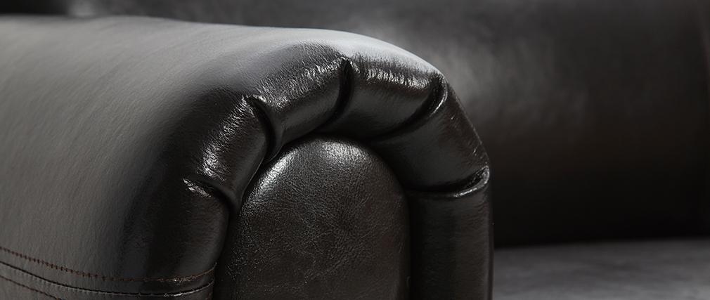 Canapé Club convertible cuir marron foncé 3 places - cuir de vachette