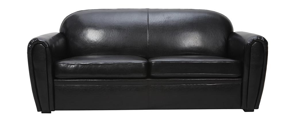 Canapé Club convertible en cuir de vachette noir 3 places