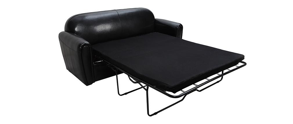 Canap club convertible en cuir de vachette noir 3 places miliboo - Canape club en cuir ...