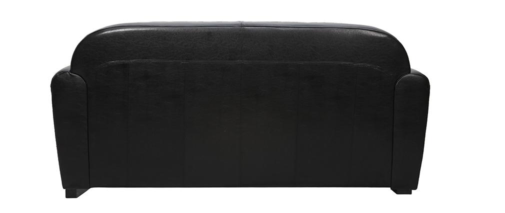 Canapé Club convertible en cuir noir 3 places - cuir de vachette