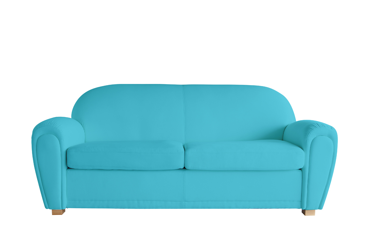 canap club cuir bleu turquoise 3 places new club miliboo. Black Bedroom Furniture Sets. Home Design Ideas