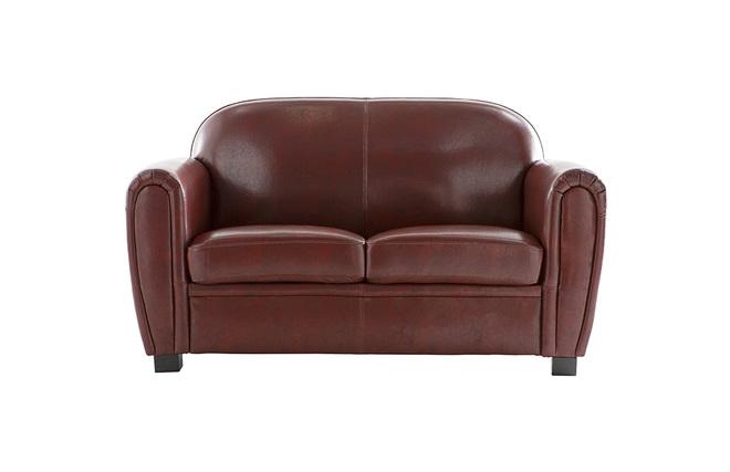 Canap club cuir marron clair 2 places cuir de vachette zoom for Canape club cuir marron